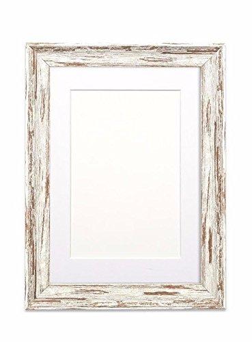 Montierte Distressed Holz Effekt / Camouflage Bilder- / Fotorahmen - Mit einer Perspex-Blatt - Löffel Nussbaum Distressed Rahmen mit Weiss Montierung - 12 x 10 zoll für 9 x 7 zoll Bilder (10-zoll-löffel)
