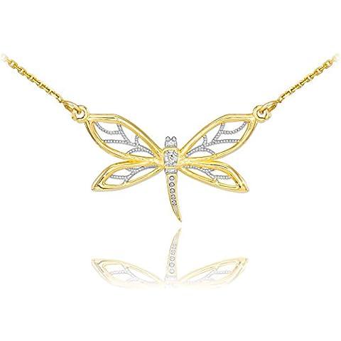 Piccoli Tesori - Pendente 14 ct Oro 585/1000 Diamante libellule filigrane
