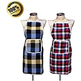 Verma Home Waterproof Cotton Kitchen Apron with Front Pocket (Multicolour) Set of 2