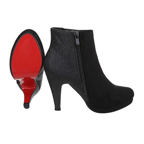 Ital-Design High Heel Stiefeletten Damenschuhe Schlupfstiefel Pfennig-/Stilettoabsatz High Heels Reißverschluss Stiefeletten Schwarz