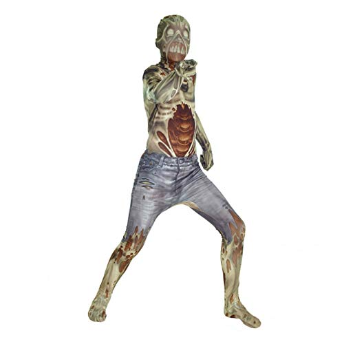 Zombie Kids Monster Morphsuit Faschingskostüm - Large 4'1-4'6 (123cm-137cm)