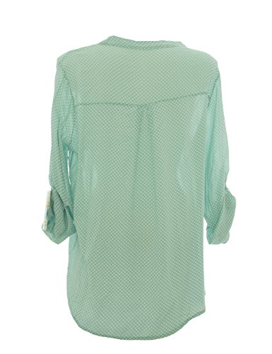 Moda Italy - Chemisier - Taille empire - À Pois - Col Montant - Manches Longues - Femme Menthe