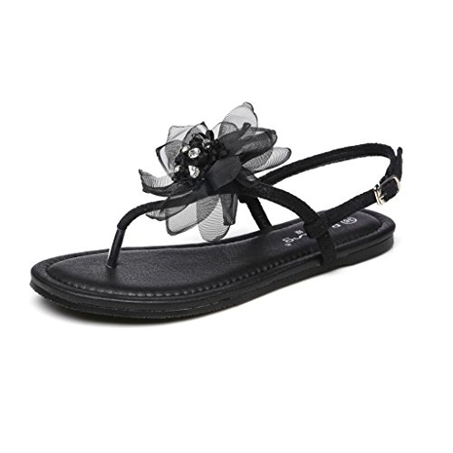 Fairy Schuhe Xia Pingdi Damen Sandalen Damen Rosa Blumen Strand Füße Schuhe (Farbe : Schwarz, Größe : 39)