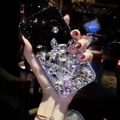 Shinyzone Hülle für iPhone 6/iPhone 6S Glitzer Hülle,Luxus 3D Handgefertigt Kristall Strass Diamant Zurück Hülle Transparent Weich Silikon TPU Bumper Schutzhülle,Schwarz & Weiß -