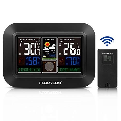 FLOUREON Wetterstation Funk mit Außensensor Digital Thermometer-Hygrometer für Innen und Außen Wettervorhersage-Piktogramm Weiße Hintergrundbeleuchtung und Uhrzeit Anzeige