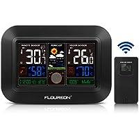 FLOUREON Station Météo Grand écran avec températures Intérieur/Extérieur Testeur d'humidité Fonction Calendrier Fonction de prévision météo Alarme réveil - Noir