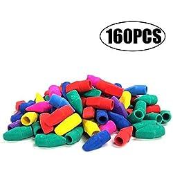 Tapas de goma de borrar, evneed 160pcs lápiz Top tapas de goma de borrar para niños Aprendizaje Divertido, varios colores–amarillo, verde, azul, morado, rojo, naranja