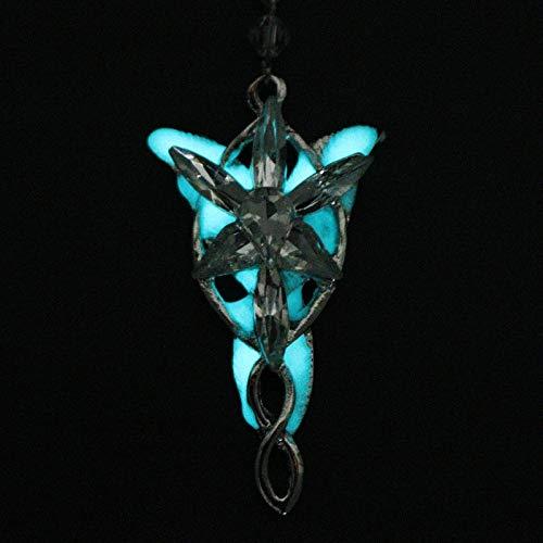 DADATU Halsketten für Herren Film Schmuck The Lord of Arwen Evenstar Pendent Crystal Twilight Star Erkek Kolye Luminous Halskette Glow In Dark Gift
