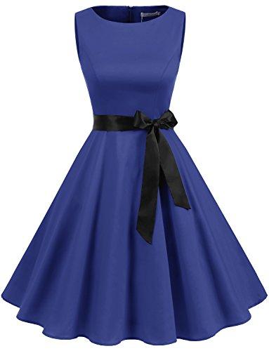 Gardenwed Damen Vintage 1950er Partykleid Rockabilly Ärmellos Retro Cocktailkleid Royal Blue XL