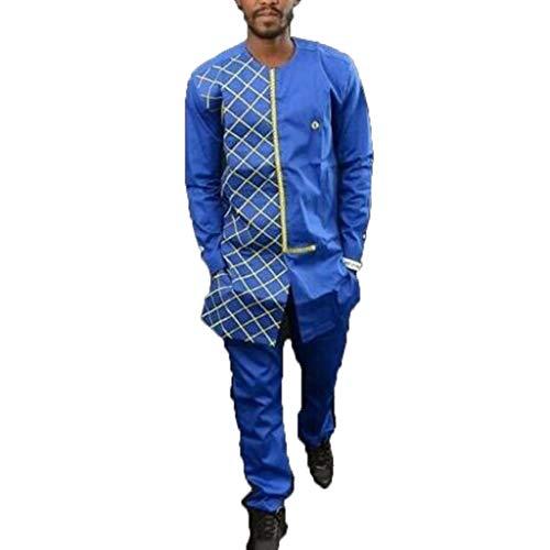 Amphia - Herren Herbst Winter Luxus afrikanischen Print Langarm Dashiki Hemd Anzug - Lässige Ethno-Druck-Langarm-Set für Herren - Die Traditionellen Raglan-t-shirt