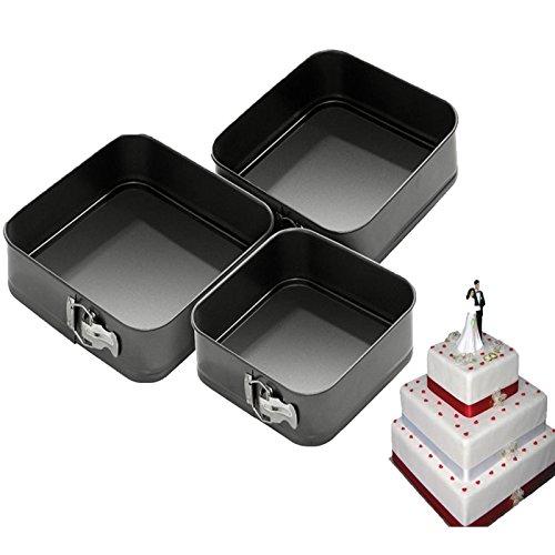 aksans (TM) Nicht-Stick 3Pack Springformen backen Kuchen quadratisch Form Set Hochzeit Fun