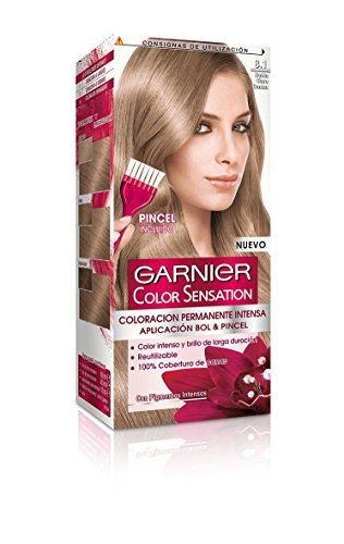 Garnier Color Sensation coloración permanente e intensa reutilizable con bol y pincel - Tono: 8.1 Rubio Claro Ceniza
