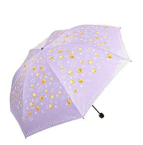 Regenschirm Schatten Schwarz Seide Seide Bildschirm Obst DREI Fold Pilz Bleistift Sunny Regenschirm Sonnenschirm Sonnenschirm (Farbe : B) - Drei-fold-bildschirm