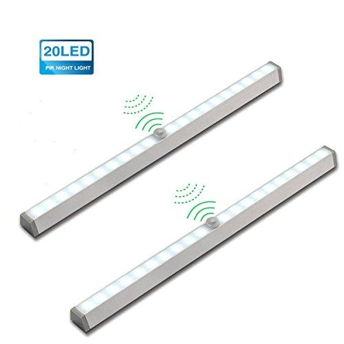 KINGSO 2x 20 LED automatische Beleuchtung Sensor Licht Kabellose batteriebetrieben Schrankleuchte Nachtlicht mit PIR Bewegungsmelder innen schranklicht lichtleiste Weiß (Licht-sensor-led)