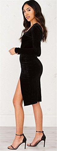 Sexy Encolure Col En V V Dans Le Dos Côtés Fendue Fentes Fendu à Découpes Manches Longues Midi Mi-longue Bodycon Fourreau Moulante Ajustée Dress Robe Noir