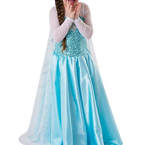 sin Kostüm Kinder Glanz Kleid Mädchen Weihnachten Verkleidung Karneval Party Halloween Fest (120, #03 Kleid) (Königin Elsa Halloween-kostüm)