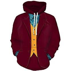 Aosida Joker Shirt Hoodie Red Clown Outfit 2019 The Joker Cosplay Sudadera Disfraz de Halloween Joaquin Phoenix Movie Hombres Mujeres Chaquetas Abrigo Impreso Zip Up Chaquetas Abrigo Traje