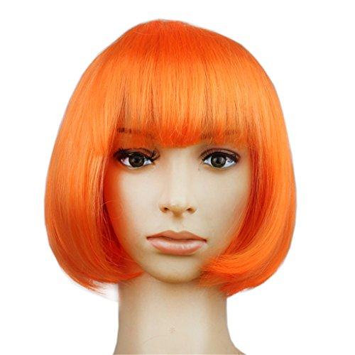 Missfly Damen Bob Bobo Peruecke Retro Wigs kurz Glatt fuer Cosplay Karneval Party Halloween, (Glamour Orange Perücke)