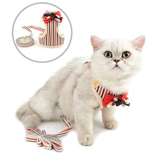 smalllee_lucky_store Universal-Geschirr und Leine, für Katzen und kleine Hunde, gestreift, mit Schleife, kein Ziehen, kein Herausziehen, aus der Weste, verstellbar, für Welpen, Kätzchen, XS, rot -