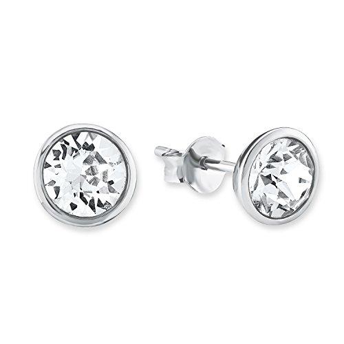 s.Oliver Damen-Ohrstecker 925 Sterling-Silber, rhodiniert mit Kristallen von Swarovski