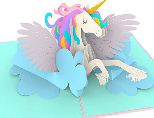 Geburtstagskarte, Einhorn auf Wolke, Unicorn, süße XXL 3D-Pop-Up-Karte, Glückwunschkarte,...
