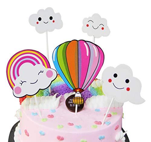 Decoración para tarta de cumpleaños, diseño de bola arcoíris con nube, ideal como regalo de cumpleaños o como decoración para pasteles, ideal para fiestas y fiestas rosa