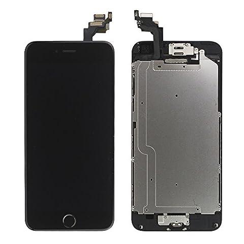 LL Trader Remplacement d'écran pour iPhone 6 (4.7 pouces) Noir LCD Numériseur Tactile Montage Complet Afficher avec Bouton d'accueil+Avant face à la caméra Capteur de Proximité+Haut-parleur+Outils complets de