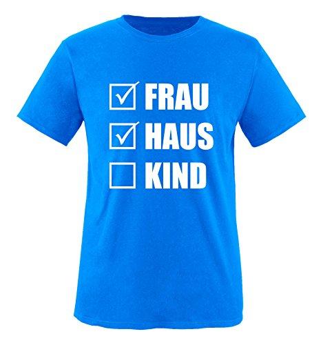 Comedy Shirts - Frau Haus Kind - Herren T-Shirt - Royalblau / Weiss Gr. - Haus Bachelor