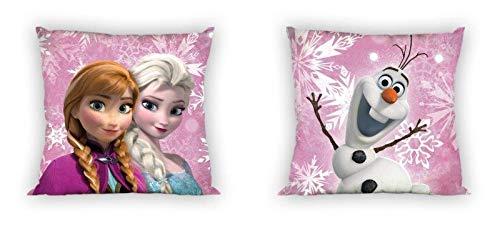 Unbekannt Frozen Kissen Lizenzkissen 40x40 Anna und ELSA Olaf rosa Zierkissen beidseitig