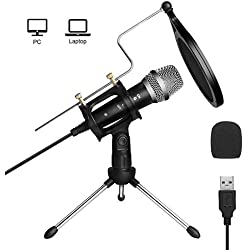 ARCHEER Microphone PC USB, Micro PC USB avec Support de Pied Micro Professionnel à Condensateur pour PC Ordinateur Portable Podcasting Chant Youtube Skype Jeux Video - Noir
