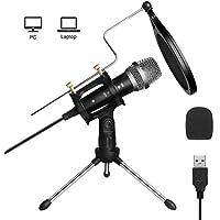 ARCHEER Micrófono PC,Micrófono USB de Condensador para Ordenador Plug & Play con Soporte Trípode & Antipop Filtro Micrófono Condensador de Metal para Grabación Vocal/Skype/Podcasting/Video de Youtube