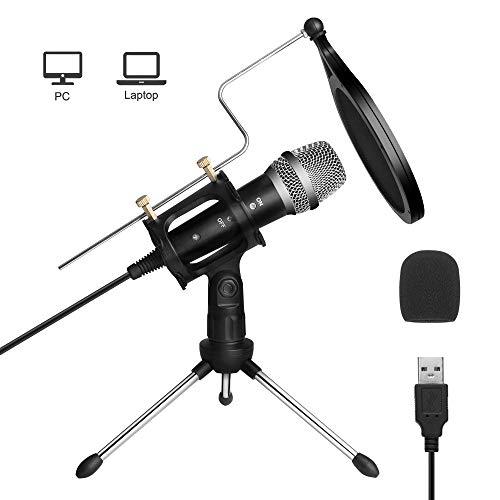 ARCHEER USB PC Mikrofon Kondensator Mikrofon, Professionelle Computer Mikrofonsets Podcast Aufnahmemikrofon Laptop Standmikrofon für Gaming Aufnahme Podcast Skype YouTube Studio