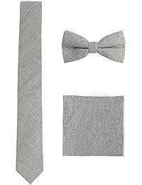 WANYING Herren Baumwolle 6cm Schmale Krawatte & Fliege & Einstecktuch 3 in 1 Sets Mode Business Casual - Getreift