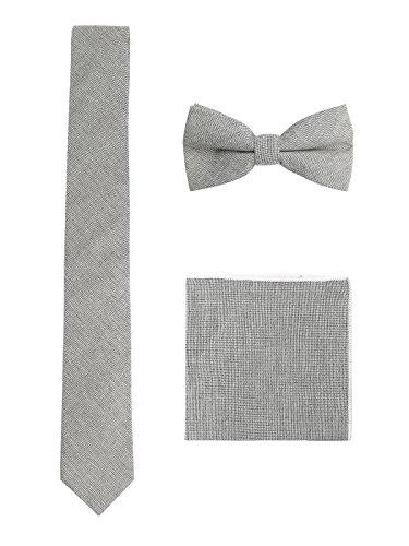 Herren Baumwolle 6cm Schmale Krawatte & Gebundene Fliege & Einstecktuch 3 in 1 Sets Trendmode Casual - Grau