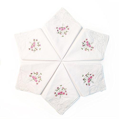 LULUSILK 6 Damen Stoff Taschentücher 100% Baumwolle mit Rosa Blumen Stickereien und Spitze Schmetterling Kante (Bestickte Damen Taschentücher)
