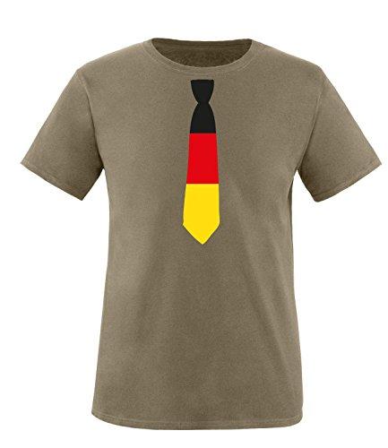 Luckja EM 2016 Deutschland Krawatte Fanshirt Herren Rundhals T-Shirt Oliv/Bunt