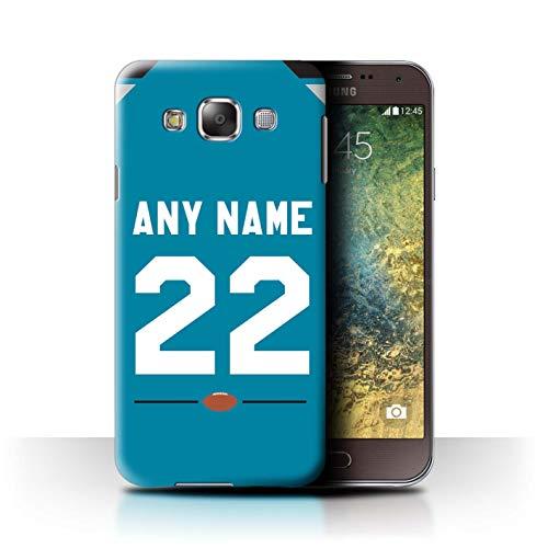 eSwish Personalisiert Individuell Amerikanischer Fußball Jersey 2 Hülle für Samsung Galaxy E5/E500 / Dunkles Aqua Design/Initiale/Name/Text Schutzhülle/Case/Etui