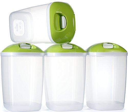 Confezione da 4 contenitori plastica per cereali. Senza BPA Pronti per conservare pasta e riso tenuta stagna 1.4 Lts