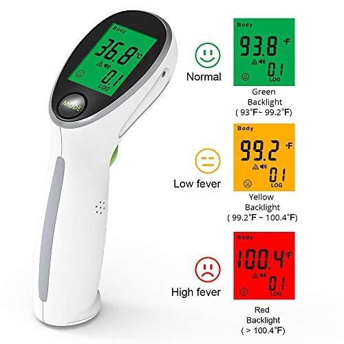 FOONEE Infrarot Babythermometer, Fieber Thermometer, Kopf Thermometer für Familien, EIN- und Ausreisehafen, Flughafen, Fieberalarm und korrigierbare Einstellungen für Erwachsene, Kinder - Erwachsenen-flughafen