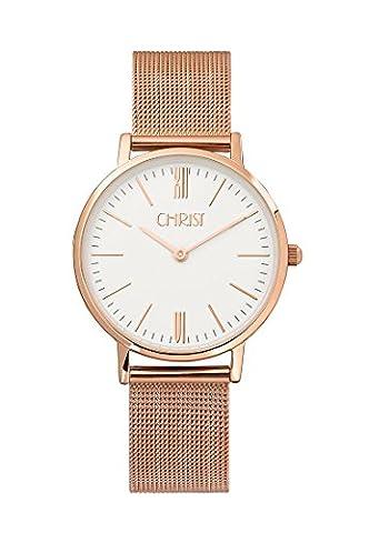 CHRIST times Damen-Armbanduhr Analog Quarz One Size, weiß, rosé