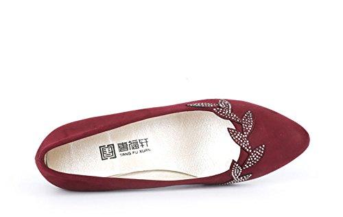 Do on Bloco Modernas De Vermelhos Calcanhar Pé sapatos Bombas Dedo Relâmpago Ornamento Confortáveis Slip Senhoras Casamento Do Pontas 7zUfW