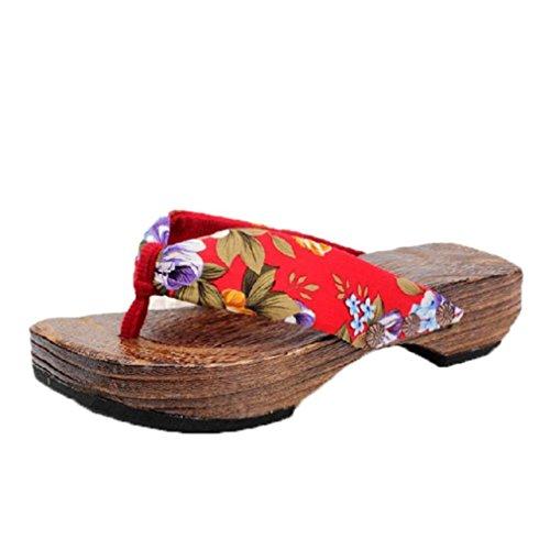 HARRYSTORE Frauen Sommer-Plattform Holz Sandalen Clog Holz Hausschuhe Blumen gedruckt Flip Flops Schuhe (37, Rot) (Sandalen Junioren Brown)