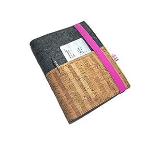 Reiseorganizer Reiseetui Dokumententasche Wollfilz Filz Kork für Reisedokumente inkl. eReader-/Tabletfach bis max. 8