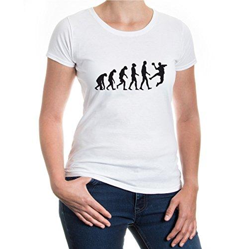 Girlie T-Shirt The Evolution of handball-M-White-Black