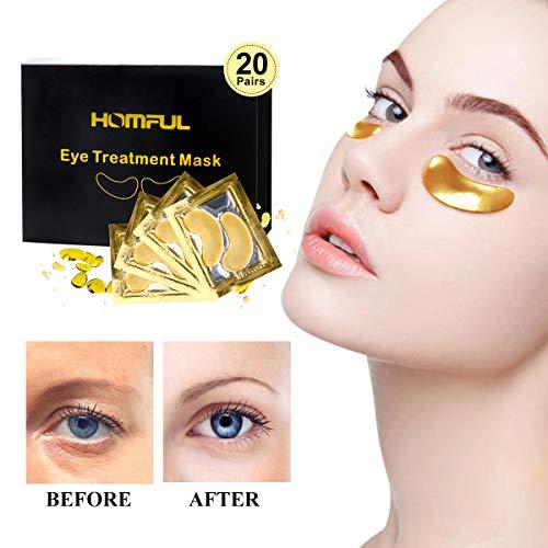 20 pairs Máscara para los ojos,Eye Mask Collagen,24K Máscara para ojos de colágeno,Anti-envejecimiento, Máscaras Antiarrugas para Los Ojos,Reduce Las Ojeras, eliminar bolsas bajo los ojos