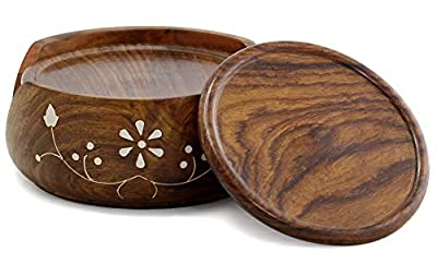 SouvNear Drink Coasters Set with Holder - Handmade Rosewood Coaster / Cup Placemat / Drink Place Mat Set - 6 Round Table Coasters and Wooden Holder with leaf-and-vine inlay work - Dining Table / Table Top / Kitchen Accessories - Office & Home Décor