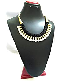 [Sponsored]Om CollectionModern Collection Black Fabric And Faux Pearl Necklace For Women
