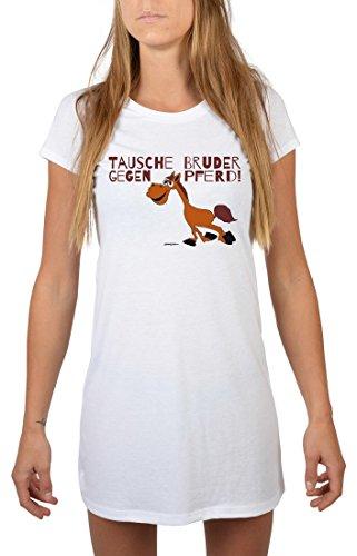 Witziges Nachthemd für Damen - Tausche Bruder gegen Pferd - lustige Geschenk Idee für sportliche Frauen, Größe:L