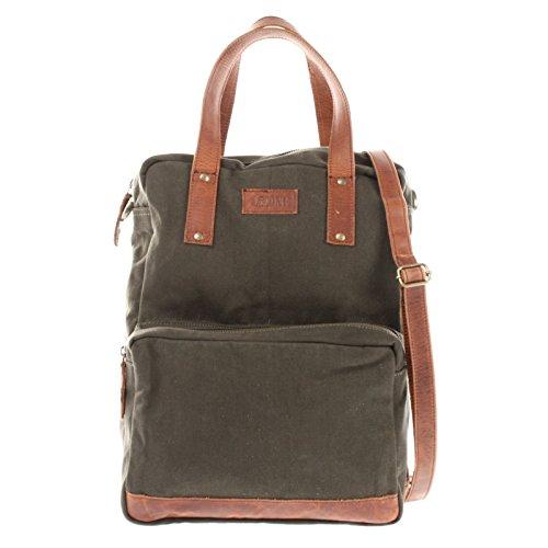LECONI Rucksack & Umhängetasche in einem für Damen & Herren Retro Backpack Canvas + echtes Leder Bodybag DIN A4 Schultertasche 2in1 Freizeitrucksack 28x37x13cm LE1014-C, Grün / Braun, L -