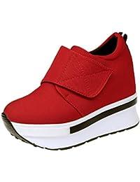 Liquidación! Covermason Mujer Moda Cuñas Botas Zapatos de plataforma Slip On Botines Moda Zapatos casuales(39 EU, rojo)